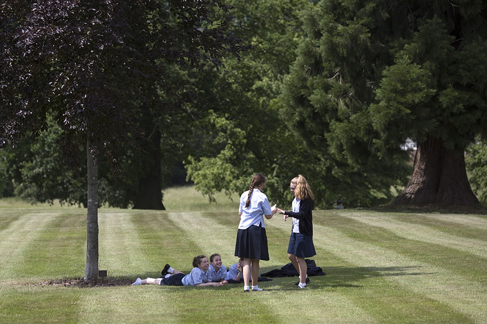 Pupils in the Abbot's Hill School grounds
